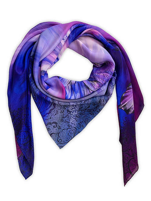'Bauhinia Indigo' Luxury Silk Oversized Scarf