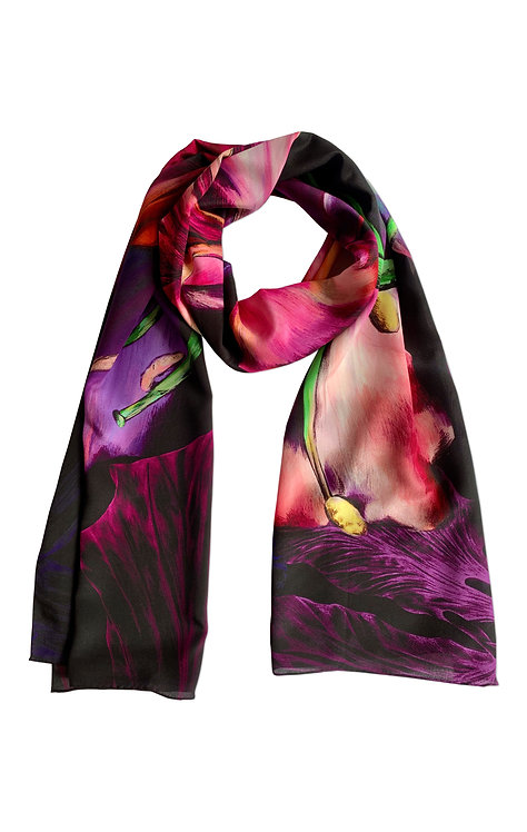 'Ebony Bright' Long Luxury Silk Scarf