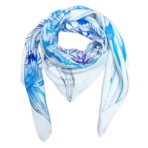 Blue Iris Hand Painted Bespoke Oversized Scarf