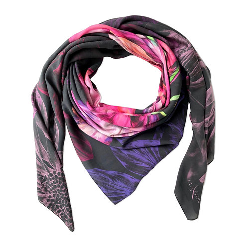 'Ebony Bright' Luxury Silk Oversized Scarf