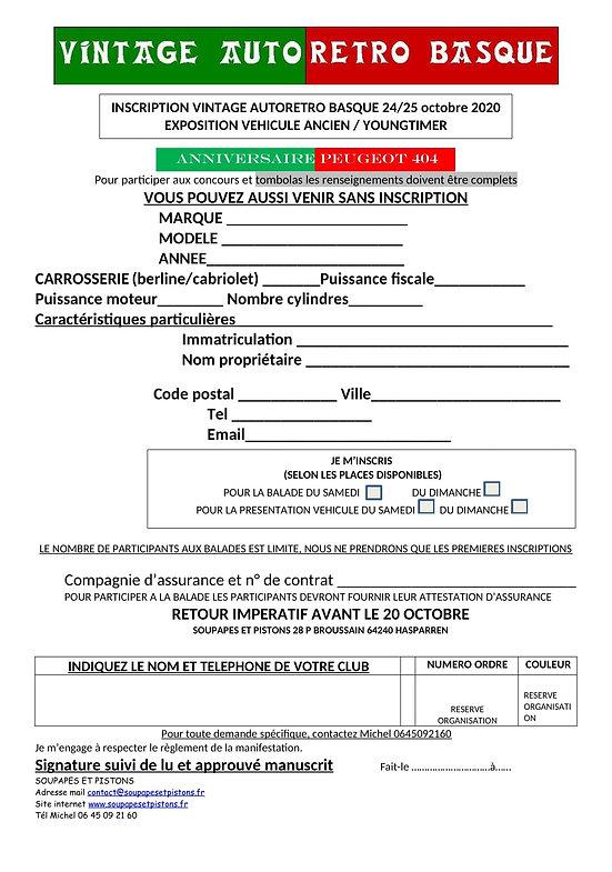 demande inscription VEHICULE BOURSE 2020