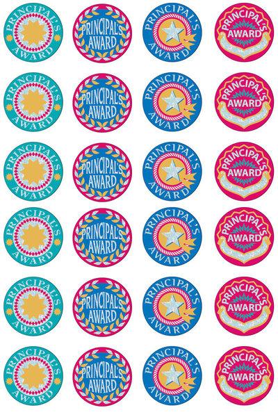 Principal's Silver Glitz Award 29mm Foil Stickers