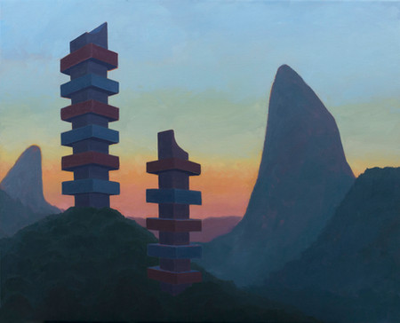 Towers 2016 oil on linen 45x55cm sold