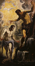 Old Master Copy Baptism of Christ byTintoretto oil on canvas 101x50cm available