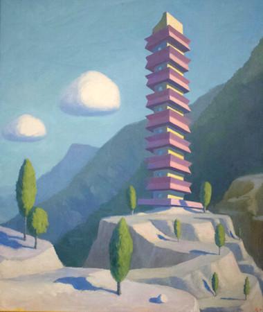 Pagoda 66x56cm oil on linen available