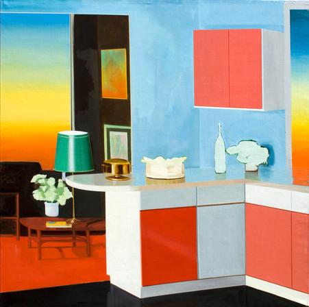 Sunset room  2104 oil on linen 101x101cm sold