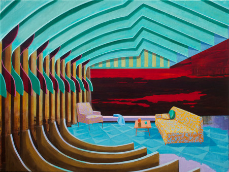 Ribbed Room 2014 oil on canvas 91x120cm sold