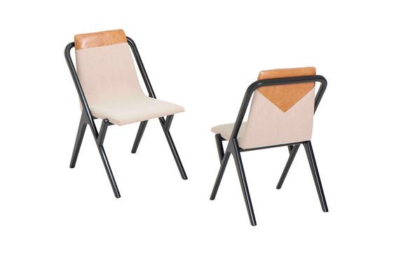 Cadeira Quadratta detalhe em couro