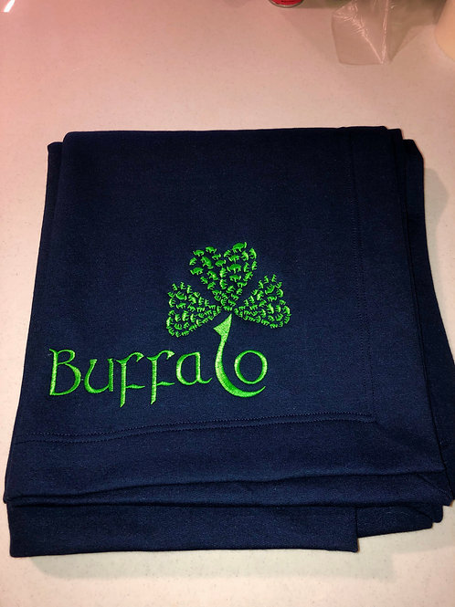 Buffalo Shamrock Blanket - Embroidered
