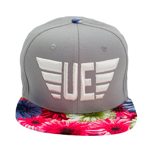 Gray Hat with White Logo and Hot Pink Flowered Bill