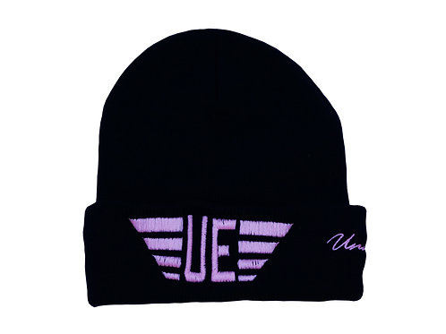 Black Beanie with Pink Logo and Pink Ribbon