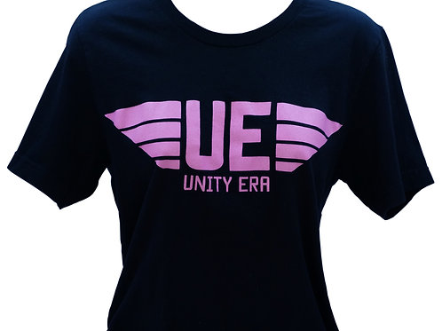 Women's Black T-Shirt with Pink Logo