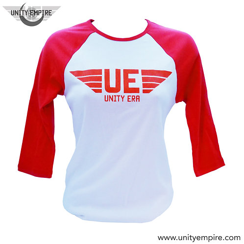 Women's Red and White UE Baseball T-Shirt