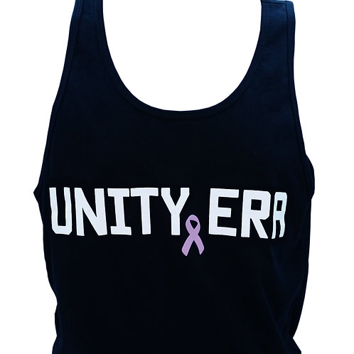 Men's Black Tank Top with White Words and Ribbon