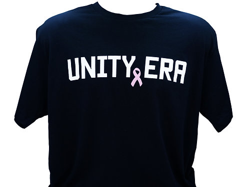 Men's Black T-Shirt with White Words and Pink Ribbon