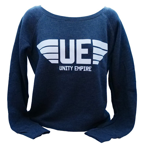 Women's Charcoal Gray Scoopneck Sweatshirt with White Unity Empire Logo