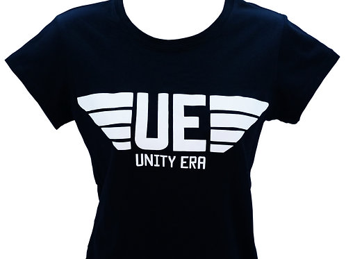 Women's Black Muscle T-Shirt with White Logo