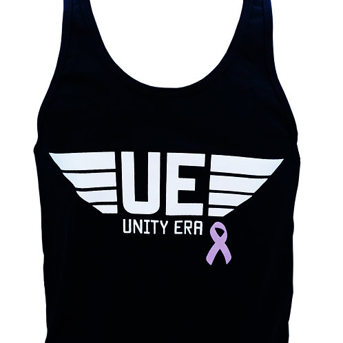 Men's Black Tank Top with White Logo and Ribbon