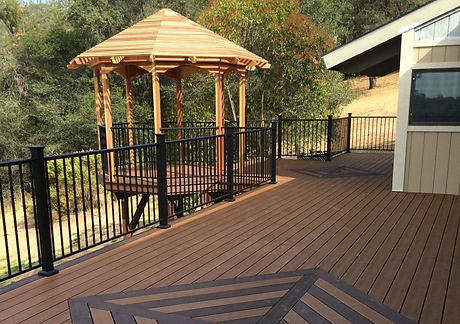 Trex Deck with Fortress Railing and Redwood Gazebo. El Dorado Hills, CA