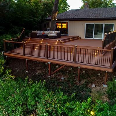 Trex deck with riser lighting Fair Oaks, CA