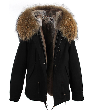 Home | Blondes Boutique | Short Black Parka Coat Natural
