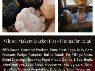 Winter Makers Market 10/26