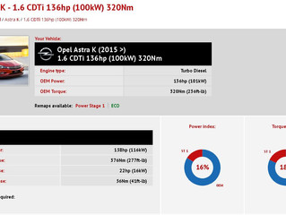 Opel Astra K - 1.6 CDTi 136hp (100kW) 320Nm Stage 1 Tuning File is available!