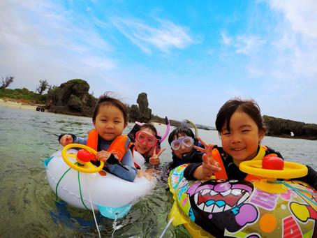 2歳4歳の子供達と沖縄ビーチシュノーケル♪