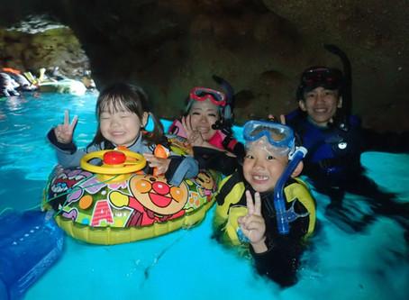 3歳と7歳の子供達と沖縄青の洞窟シュノーケル