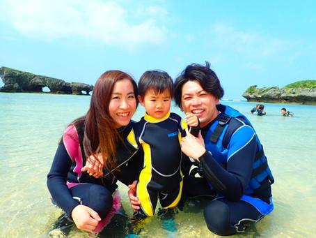 二歳の子供と沖縄ビーチシュノーケル
