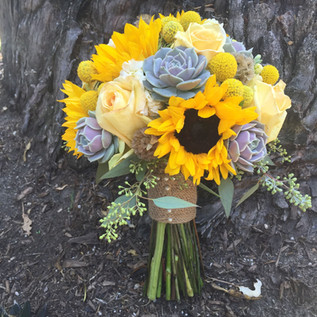 vintage succulent sunflower boquet