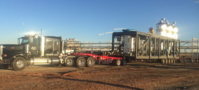 165,000# Process Skid from Tulsa, Oklahoma to Killdeer, North Dakota.