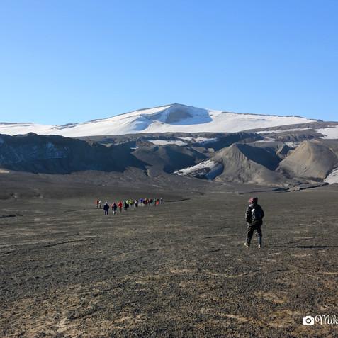 walking on volcanic lava