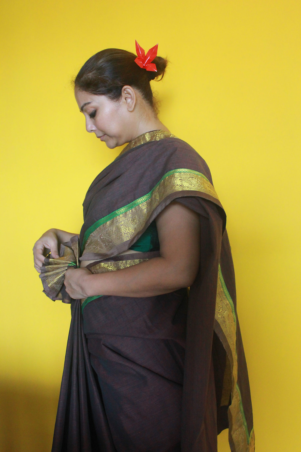 Patchworked khadi sari with handstitches and leftover tape