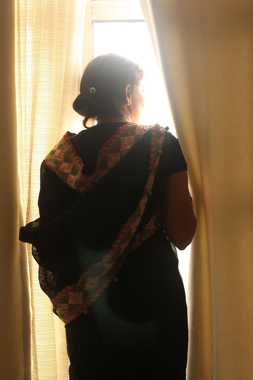 Revived Phulkari sari borders for a black organza silk version