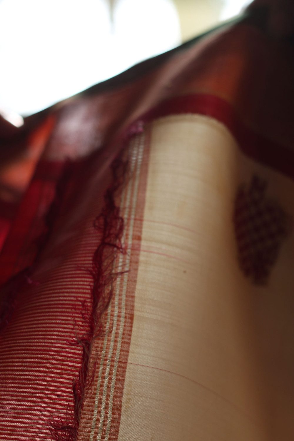 Checked the sari's shape and size