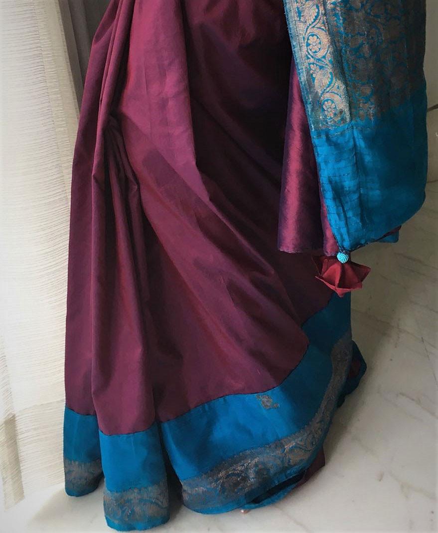 Benarasi wine-turquoise patchworked sari