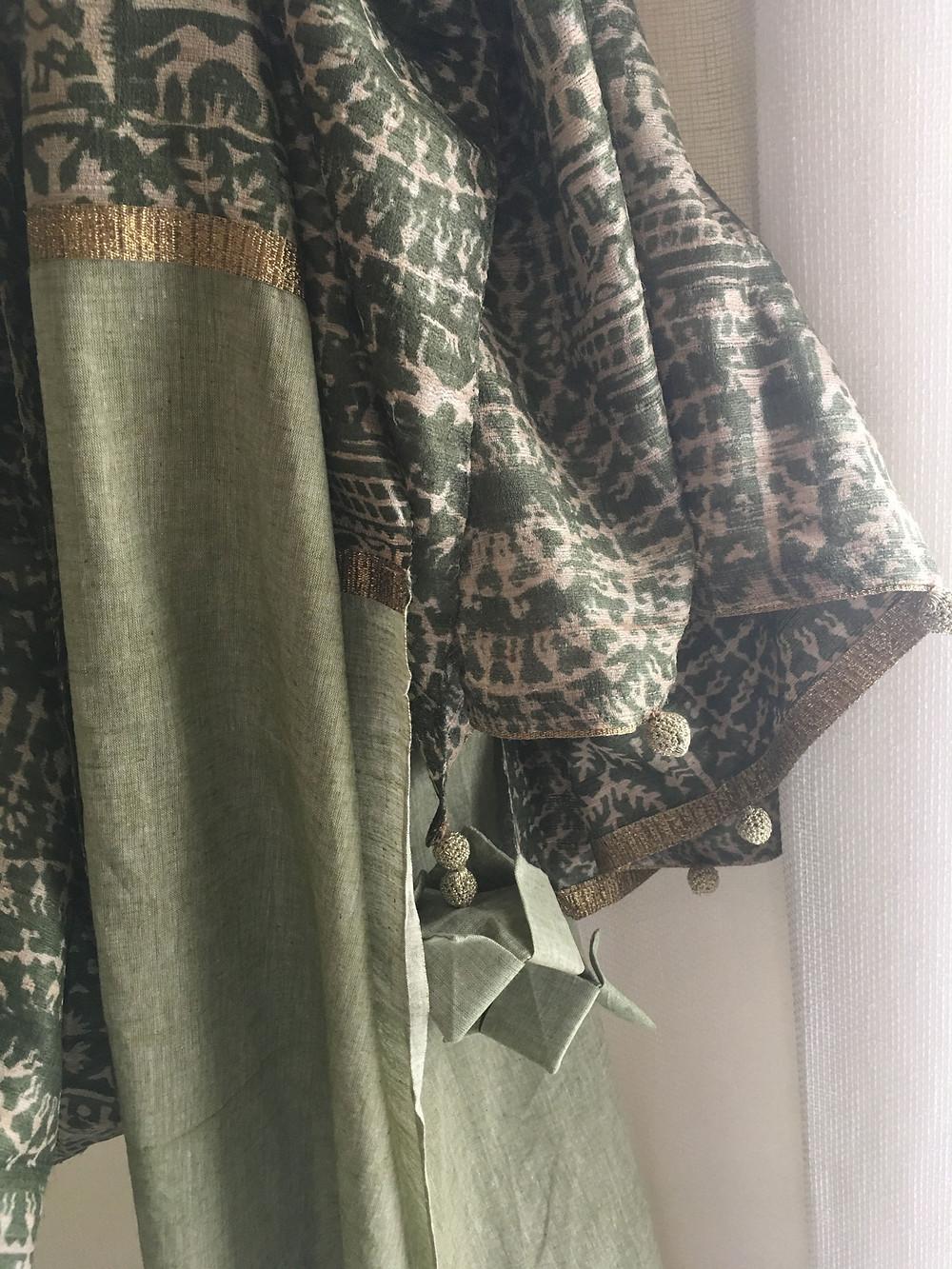 Patchworked raw silk and khadi sari