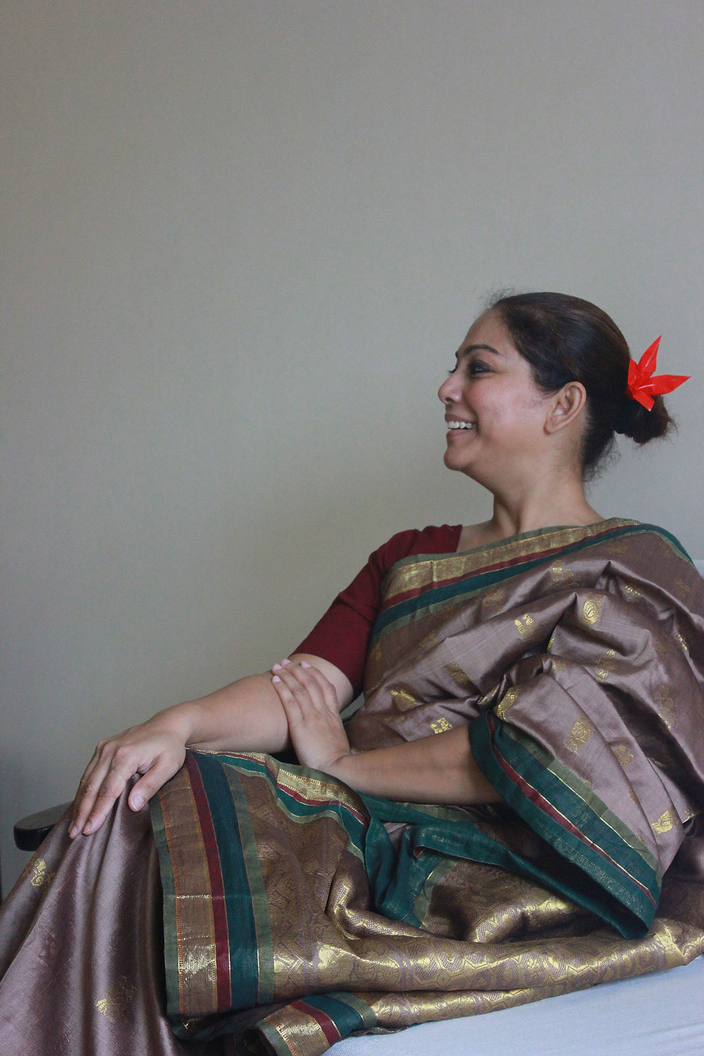 Patchworked silk sari with handstitched pleated border