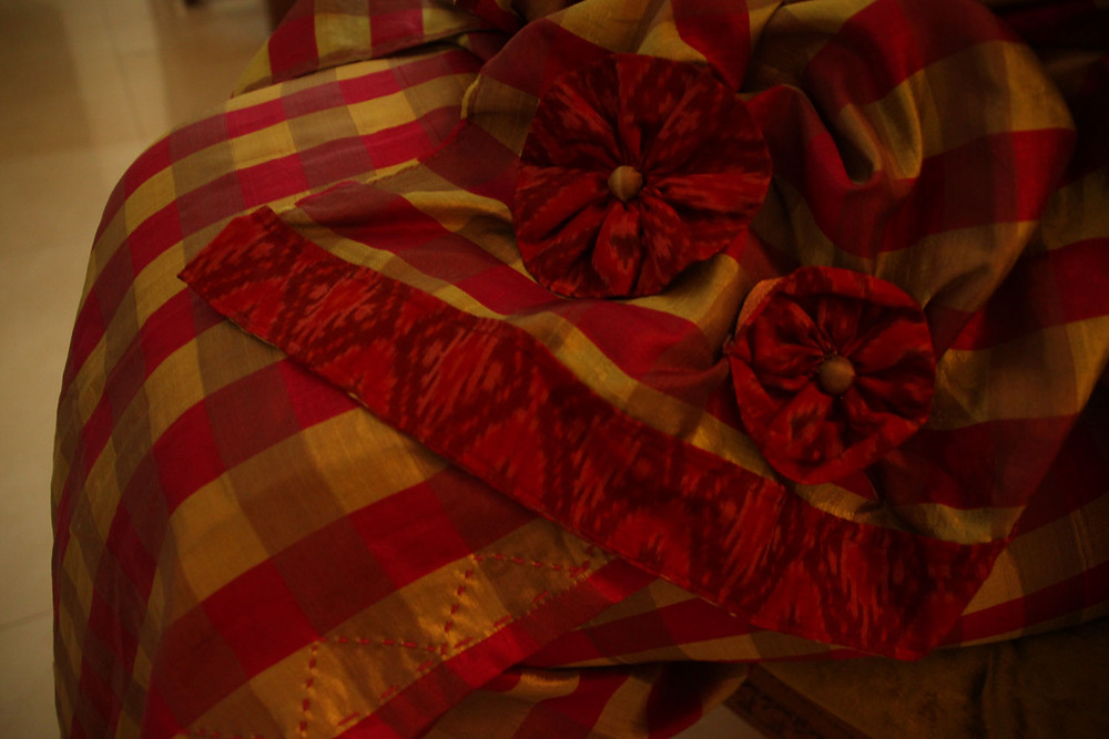 Patchworked stole with applique flowers