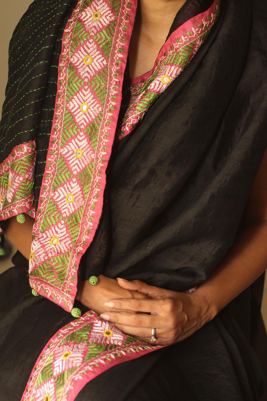 Patchworked sari with Samoolam crochet beads