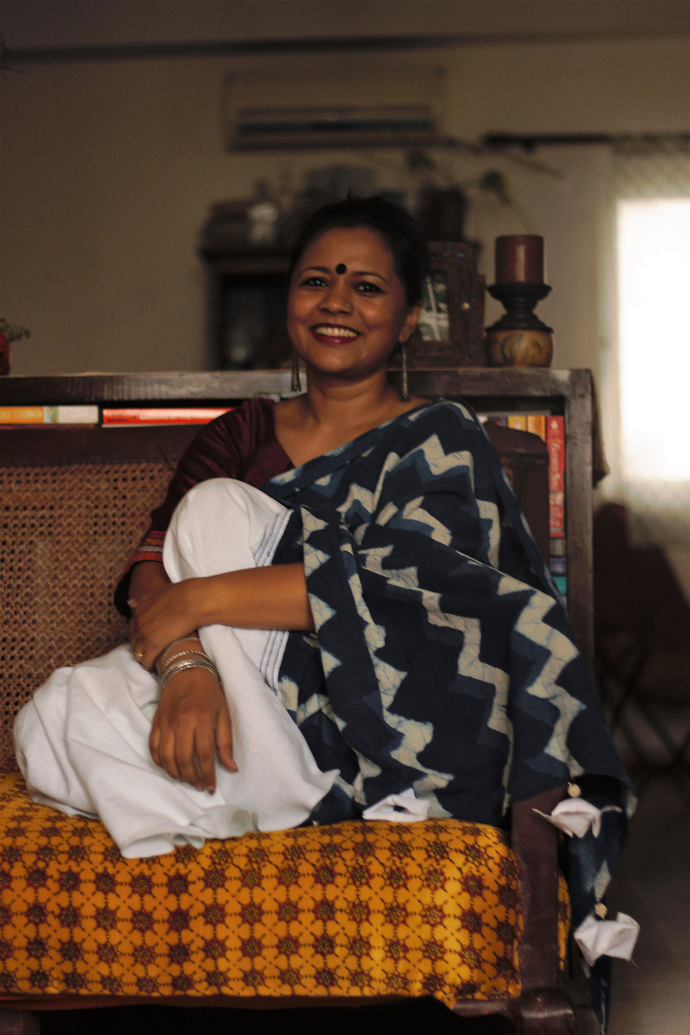 Patchworked sari with white cotton and indigo fabrics