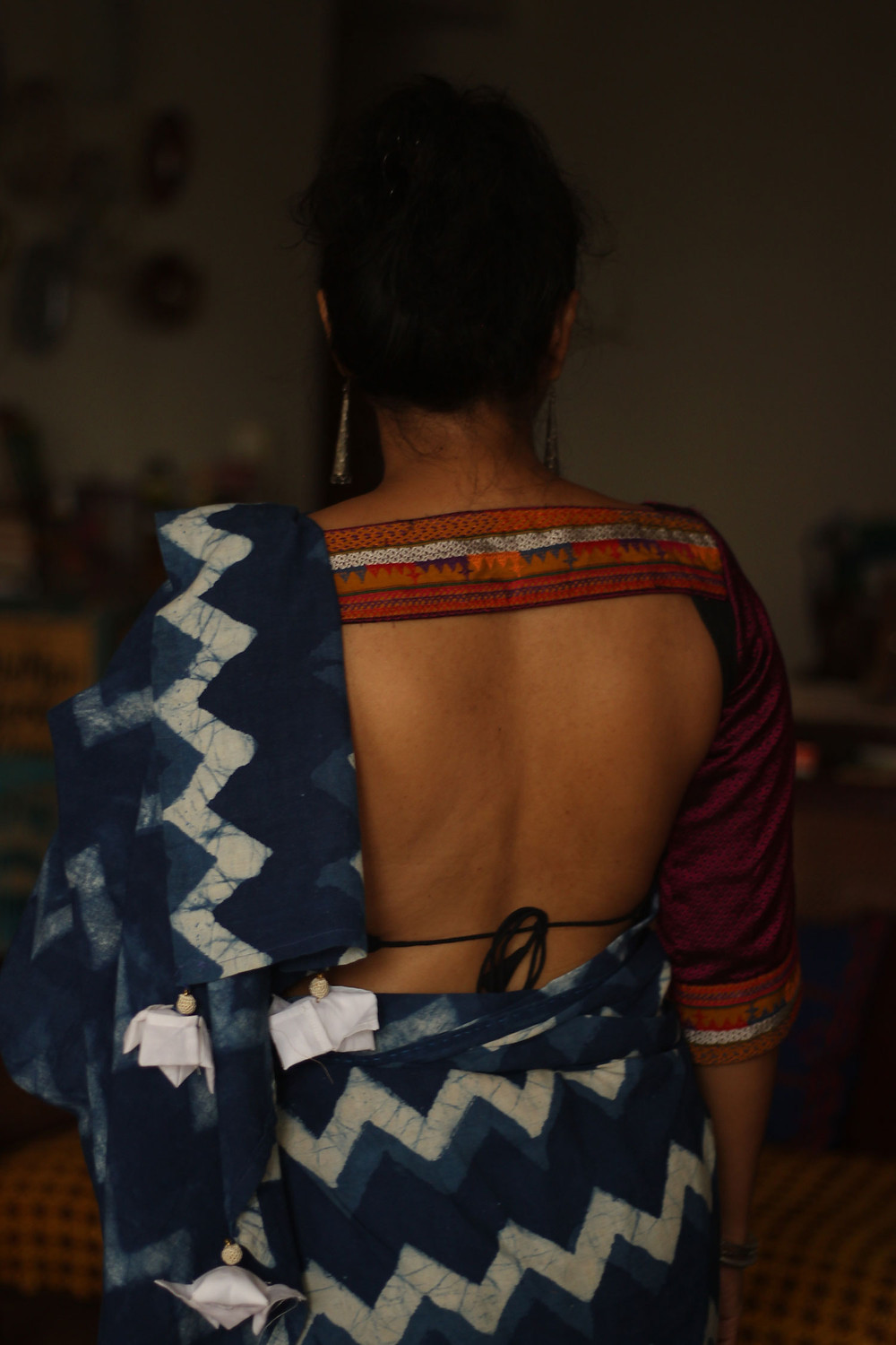 Worn with a backless Khun blouse