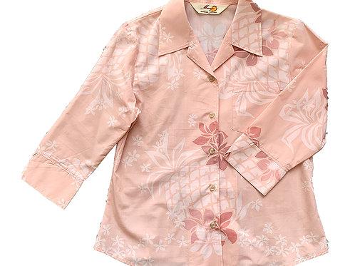 レンタルかりゆしウェア Ladies' パインプルメリア ピンク(七分袖)