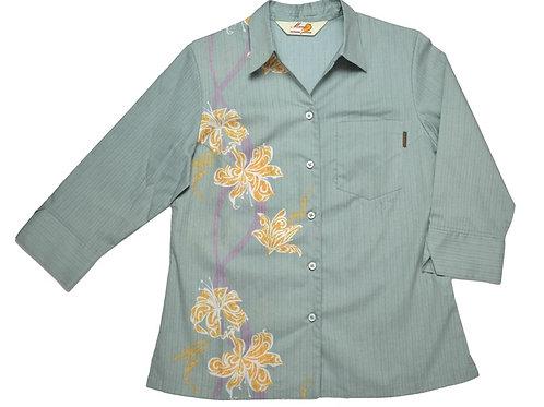 レンタルかりゆしウェア Ladies' トライバルリリー(七分袖)グレー
