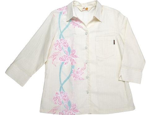 レンタルかりゆしウェア Ladies' トライバルリリー(七分袖)オフピンク