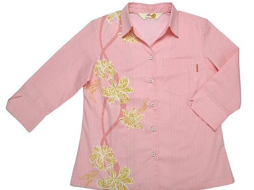 レンタルかりゆしウェア Ladies' トライバルリリー(七分袖)ピンク
