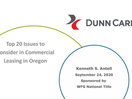 Top 20 Issues to Consider in Commercial Leasing in Oregon