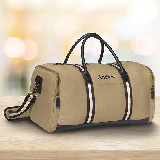 Personalized Khaki Duffle Bag - Heavy Canvas Gym Bag