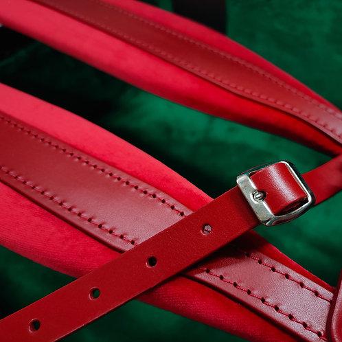 Accordion Shoulder Straps, Red Leather/Velvet